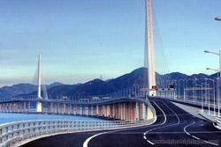 The bridge of Shenzhen Wan Port