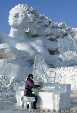Snow Sculptures during Harbin International Ice and Snow Festival