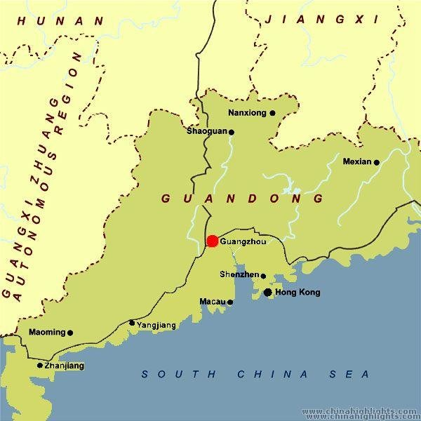Guangzhou's Location in Southeast China