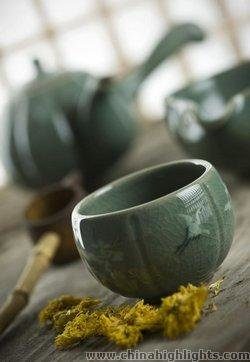 Korean Ceramic Teapot and Cup