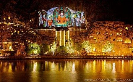 The Night Scenery of Longmen Grottoes