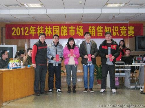 Team two (from China Highlights) won the second prize of the marketing knowledge competition.