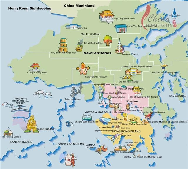 Hong Kong Attractions Icons Map