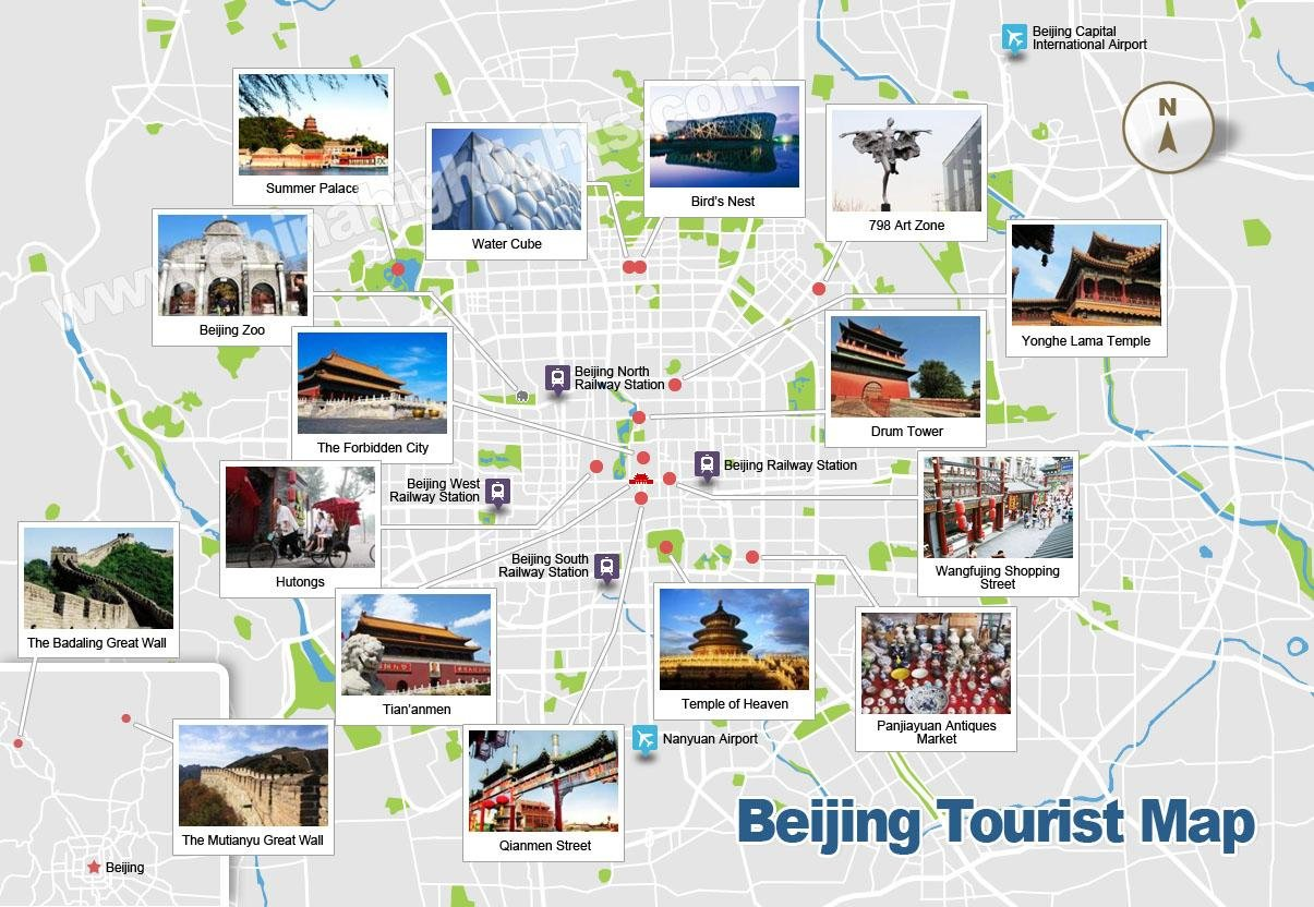 Beijing Map Map of Beijings Tourist Attractions and Subway – Northern California Tourist Attractions Map