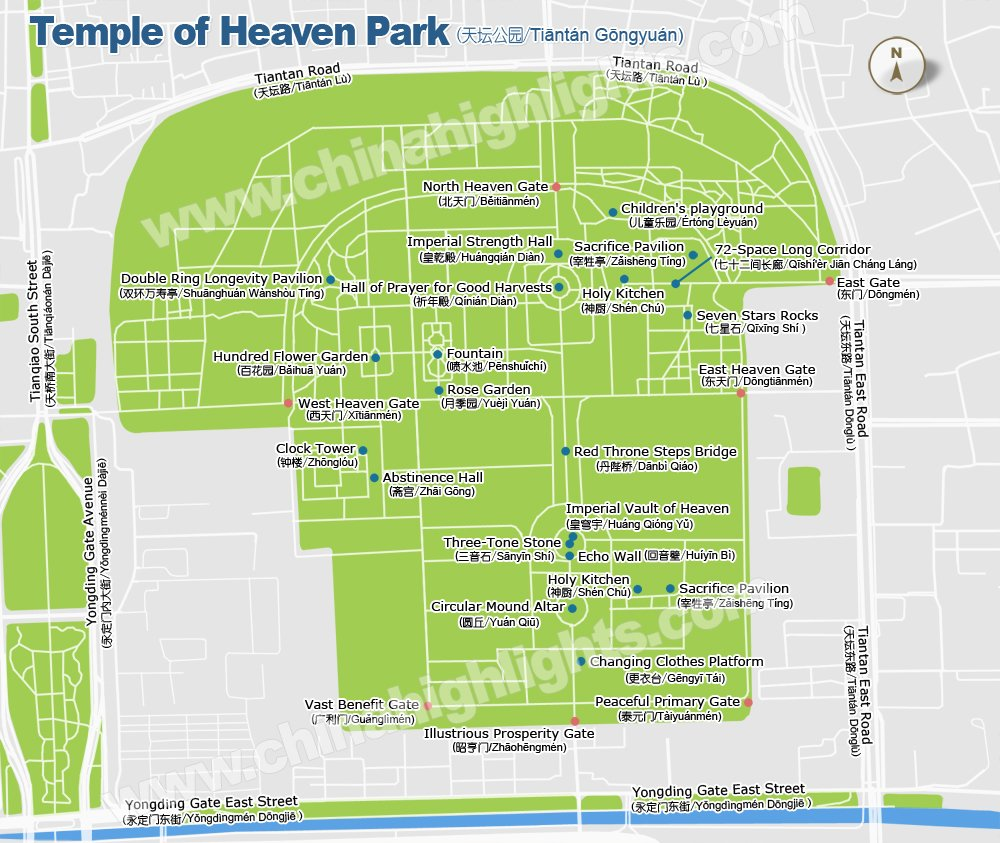 Beijing Temple of Heaven Park Map