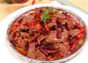 Spicy beef dish in Chongqing