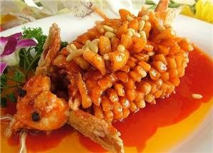 Fried carp served with sweet and sour sauce