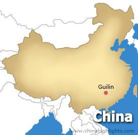 Map of Guilin City Location in China