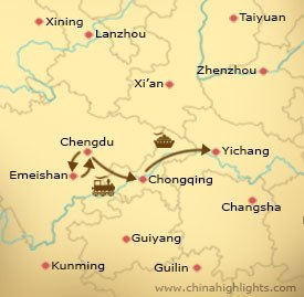 Map of Chengdu Yangtze Cruise Tour