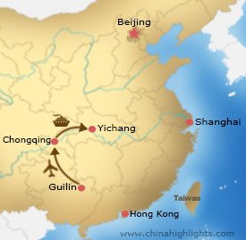 Map of Guilin Chongqing Yangtze Tour