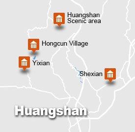 Huangshan hongcun yixian shexian tour map