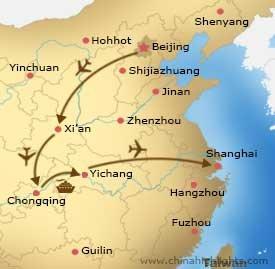 Map Beijing Xian Chongqing Yangtze Shanghai