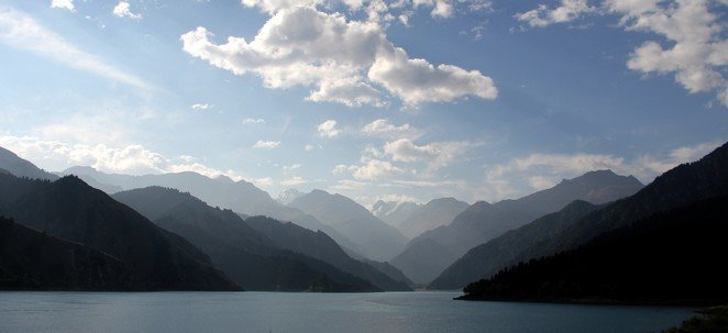 Heavenly lake in xinjiang