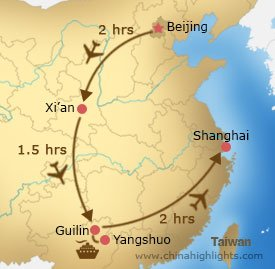 Map of Family tour to Beijing Guilin Shanghai