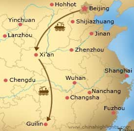 Map CHT-BG-05 Beijing,Xian,Guilin