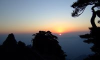 the sunrise on the yellow mountains