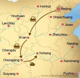 Map CHT-BG-01 Beijing,Xian, Chongqing,Yichang