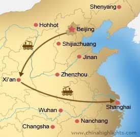 Map CHT-BG-01 Beijing, Xian, Shanghai