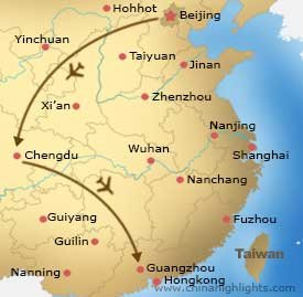Map of Tour to Beijing Chengdu Guangzhou