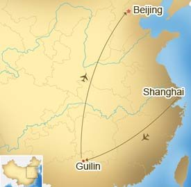 Map of Beijing Guilin Shanghai Tour