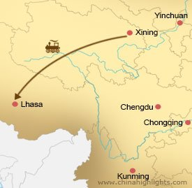 Map of Xining Lhasa Tour