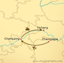 Map of Zhangjiajie and Yangtze Cruise Tour