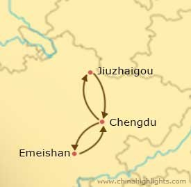 Map of Chengdu Emeishan Jiuzhaigou