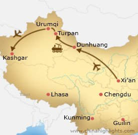Map of Xian Dunhuang Turpan Urumqi Kashgar Tour