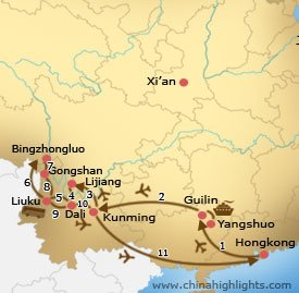 Map of Hong Kong Guilin Yunnan Roundtrip Tour