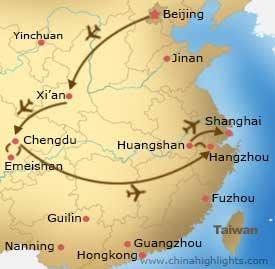 Map of Beijing-Xian-Chengdu-Hangzhou-Huangshan-Shanghai