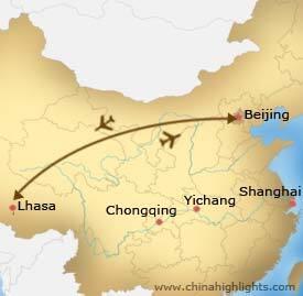 Beijing Lhasa Roundtrip Tour Map