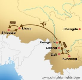 Yunnan Tibet Tour Map