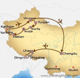 Xinjiang Chengdu Lhasa Tour Map