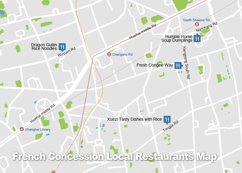 French Concession Local Restaurants Map