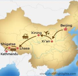 Map of Beijing Tibet Kathmandu tour