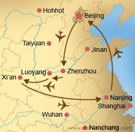 Beijing, Zhengzhou, Luoyang, Xian and Nanjing Tour Map