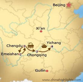 Chengdu Yangtze Tour Map