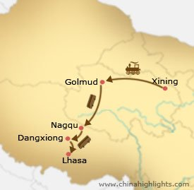 Xining Lhasa Tour Map