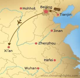 Tianjin Cruise Port to Beijing to Xian Tour Map