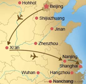 Map of Beijing Xian Nanjing Suzhou and Shanghai Tour