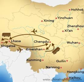 Map of Chengdu Lhasa Chengdu Tour