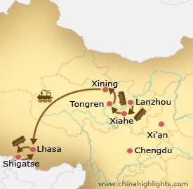 Map of Lanzhou Xining Lhasa Tour