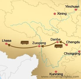 Chengdu Danba Lhasa Tour Map