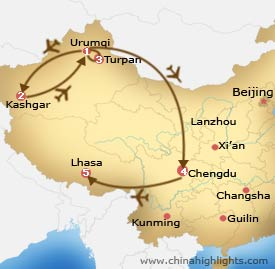 Urumqi Chengdu Lhasa Tour Map