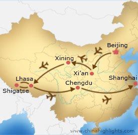 Beijing, Xian, Xining, Lhasa, Shigatse, Chengdu and Shanghai Tour Map