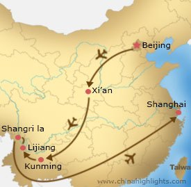 Map of Beijing Xian Kunming Lijiang Shangri la and Shanghai Tour