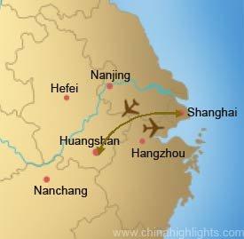 Shanghai Huangshan Roundtrip Tour Map