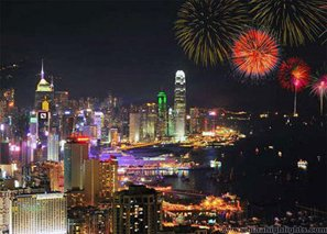 Fireworks above Victoria Harbor