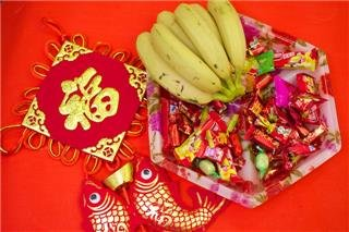 Chinese New Year candies and red packets