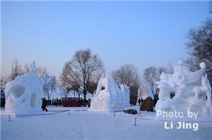 the sun island. International snow sculptur art expo